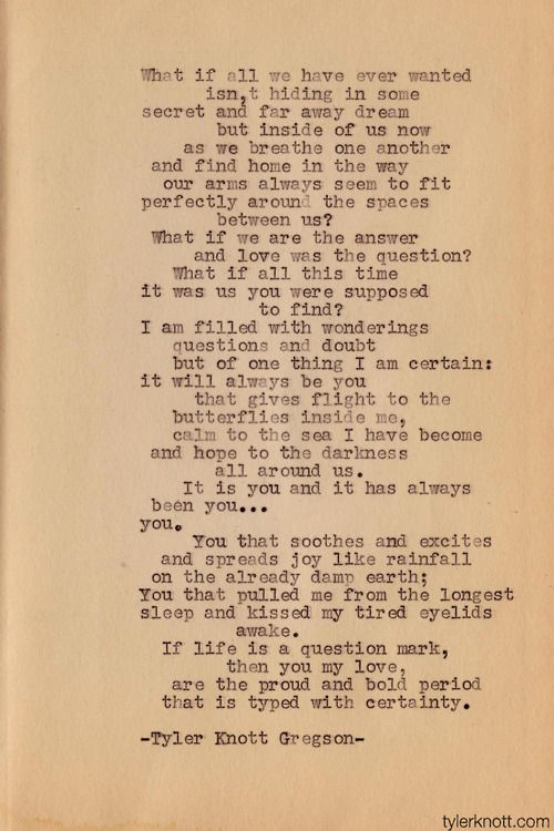 Typewriter Series 1 by Tyler Knott Gregson So with my new typewriter