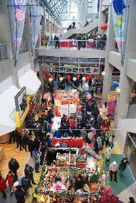 Festivities at the International Village Mall in Vancouver's Chinatown during the Chinese New Year