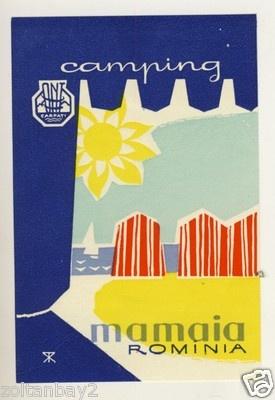 Old Luggage Label Etichetta Kofferaufkleber Camping Mamaia Romania | eBay
