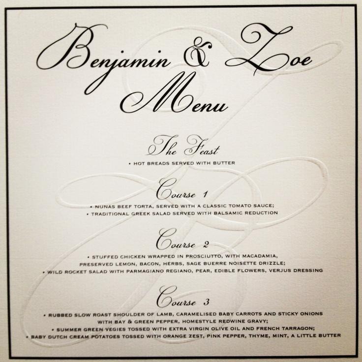 Mr & Mrs Benji Marshall Wedding Stationary I designed - the Menu