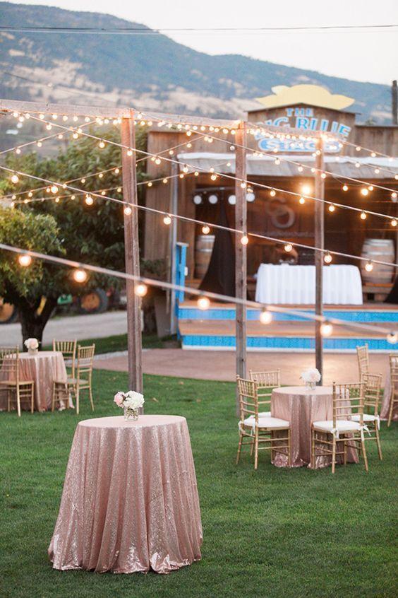 Rustic String Bistro Lights Wedding Decor Ideas / http://www.himisspuff.com/string-bistro-lights-wedding-ideas/4/