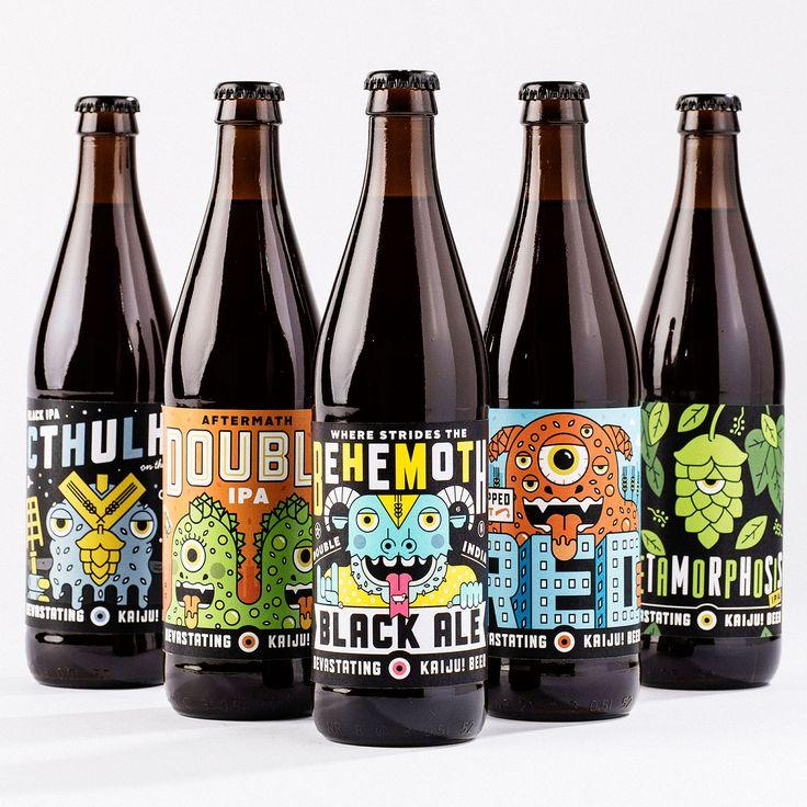 """Kaiju Beer - Branding and packaging for Australia's """"devastatingly good,"""" Kaiju! Beer @ohbeautifulbeer @KaijuBeer"""