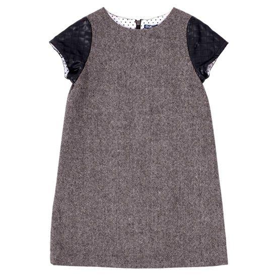 Прямое платье из твида и стеганой эко-кожи, Gulliver, где купить: Gulliver
