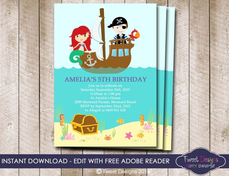 Mermaid and Pirate Invitation, Instant Download Mermaid ...