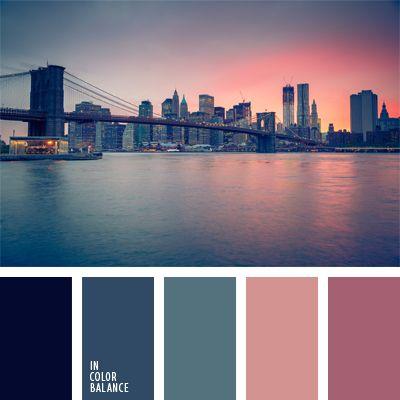 azul oscuro, azul turquí, color azul vaquero oscuro, colores de la ciudad, colores de la ciudad nocturna, colores de la puesta del sol, colores de la puesta del sol en una ciudad, elección del color, paleta de colores románticos, rosado cálido, rosado oscuro, tonos rosados.