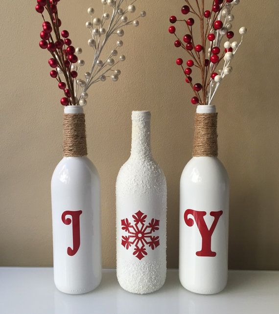 Joy Wine Bottles Christmas Decorations Snow by BriEllaCreations