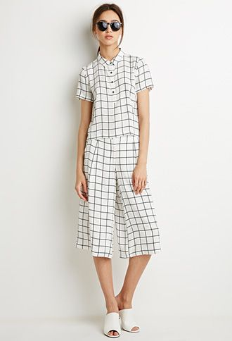 Grid Print Blouse and Gaucho Set   Forever 21 - 2049257610