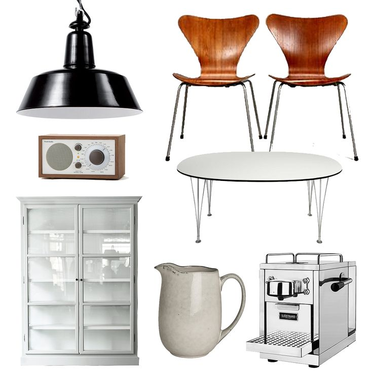 Simple country style Scandinavian kitchen ideas and decor, Seven chairs by Arne Jacobsen, Superellips table by Bruno Mathson, Tivoli Audio radio, industrial lamp, vitrine cabinet, espresso machine, ceramic jug