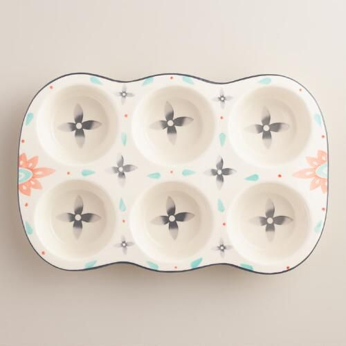 One of my favorite discoveries at WorldMarket.com: Joyye Hand Painted Ceramic Muffin Pan