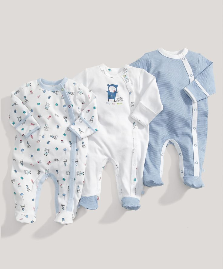 Boys 3 Pack of Blue All in Ones - Baby Boys Essentials - Mamas  Papas
