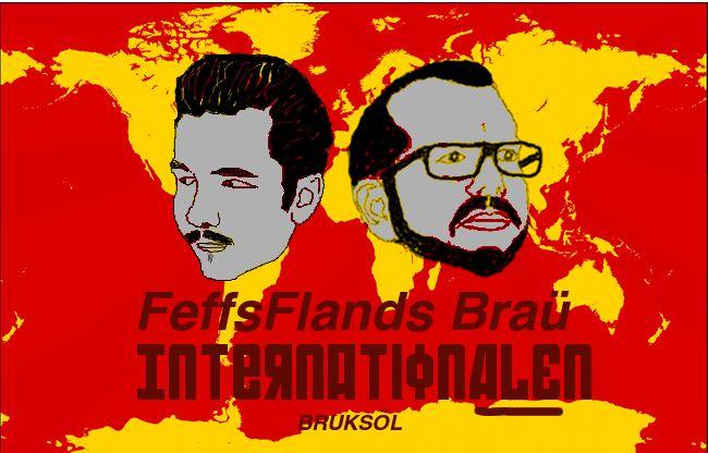"""FeffsFlands Braü Internationalen. Samuel Flander (bryggare) och Fredrik Sjöholm (formgivare), Falun 2013. """"Fäbless för den sovjetiska propagandan uttryck samt en ordlek med ale och Internationalen"""" Licens: CC-BY-NC"""