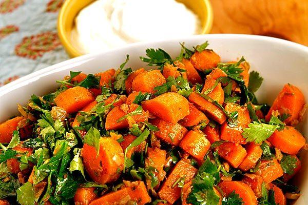 Spicy Moroccan carrot salad || Each serving: 317 calories; 5 grams protein; 29 grams carbohydrates; 8 grams fiber; 22 grams fat; 5 grams saturated fat; 5 mg cholesterol; 14 grams sugar; 193 mg sodium.