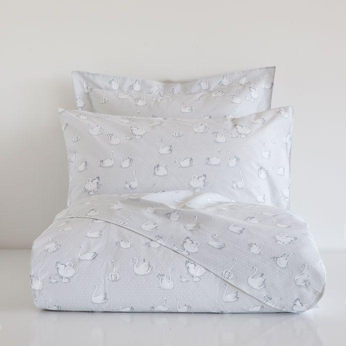 WHITE SWAN PRINT BEDLINEN
