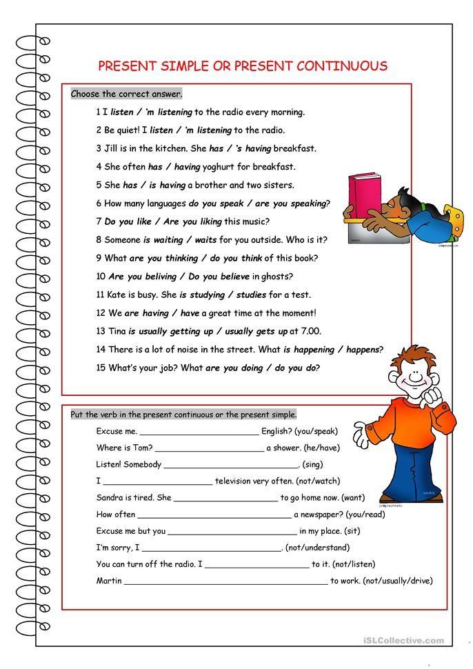Present Simple Or Present Continuous Gramática Inglesa