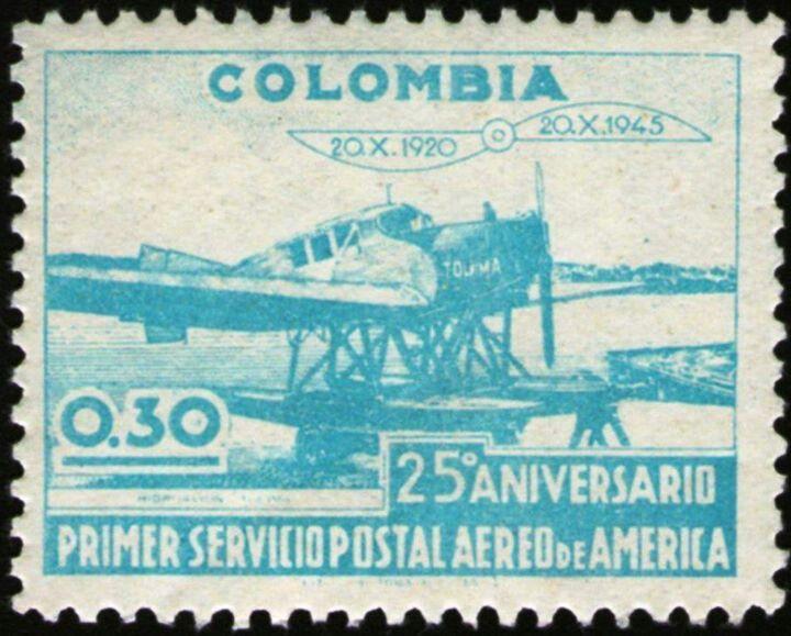 ¡¡¡HOMENAJE 25 ANIVERSARIO DEL CORREO AEREO DE LAS AMERICAS,EMITIDA EN 1945!!!