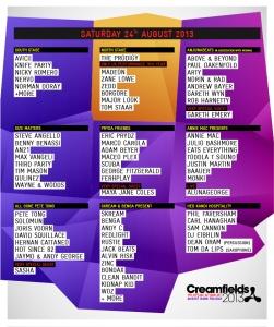 2013 #Creamfields Saturday #Lineup