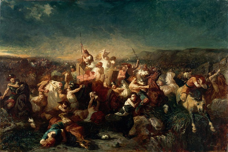 """La déroute des Alamans à Tolbiac., par Evariste-Vital Luminais - CLOVIS 1°. 3)BIOGRAPHIE. 3.4.2 LA CONVERSION ET LA BATAILLE DE TOLBIAC, 1: 'est en la """"15° année de son règne"""", c'est à dire en 496, qu'a lieu la bataille de TOLBIAC (ZÜLPICH près de COLOGNE), contre les ALAMANS; Clovis portant secours aux Francs Rhénans dont le roi SIGEBERT a été blessé au genou."""
