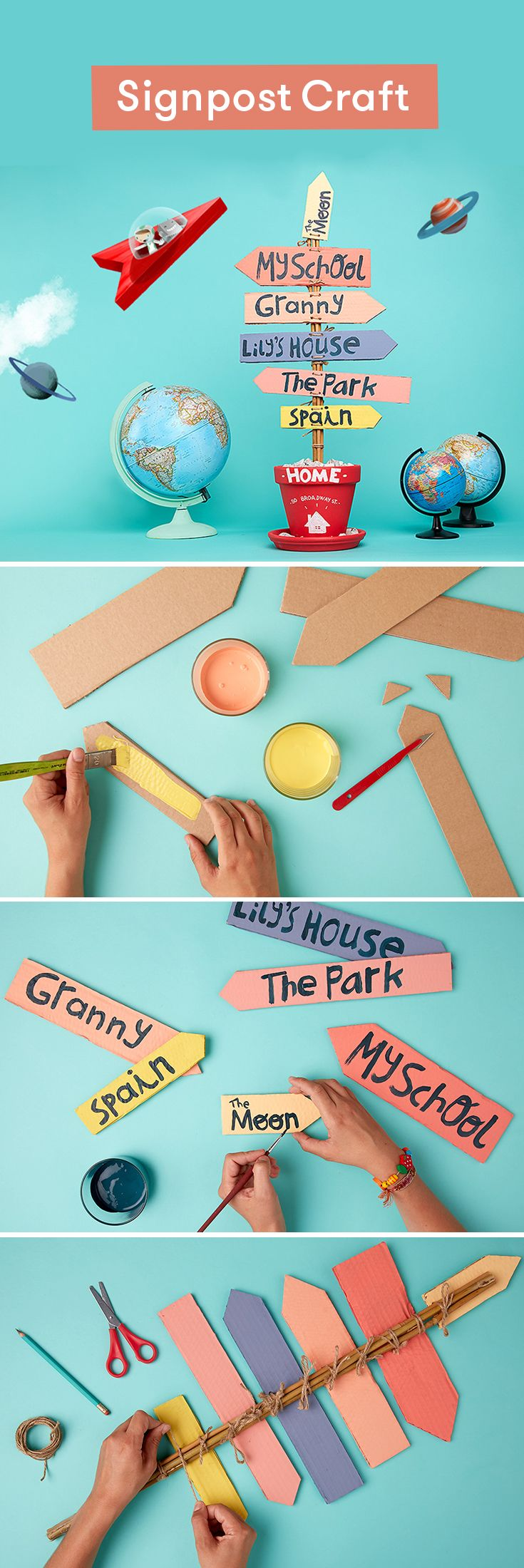 Make a signpost craft all about your kid's favourite places. While their world is always expanding, home remains its centre. This craft is a lovely keepsake to remind them how it relates to the other important locations in their lives. And as you're making it you can talk about what home means to them.
