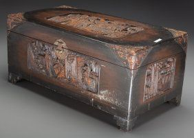 A Chinese Carved Camphor Wood Box, 20th century