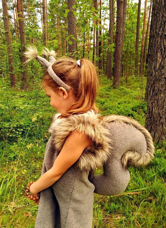 Squirrel girl costume dress headband tail/ Kids squirrel