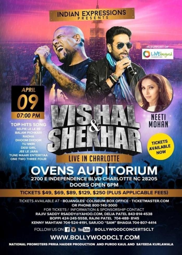 VISHAL & SHEKHAR LIVE IN CHARLOTTE at Ovens Auditorium, 2700 E Independence Blvd, Charlotte, NC , Tickets, Indian Events Desi Events