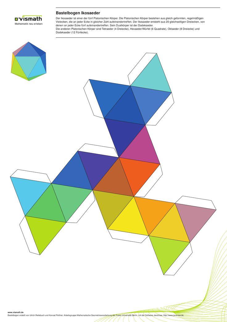 Platonische Körper basteln. Ein Set mit fünf Bastelbögen. Hier: Ikosaeder aus 20 Dreiecken. Alle Bögen im Din A3-Format.