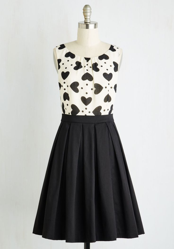 Chic Sweetheart Dress by ModCloth - Black, White, Novelty Print, Print, Party, Fit & Flare, Sleeveless, Spring, Woven, Better, Mid-length, Valentine's, Exclusives, SF Fit Shop