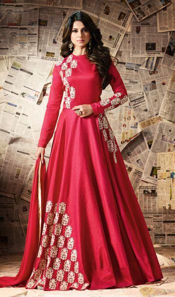 Jennifer Winget Red Color Embroidered Banglori Silk Semi-Stitched Salwar Kameez