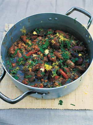 Jamie Oliver's Dark, Sticky Lamb and Sausage Stew. I've made this twice now and it is great! 91 WW plus points for the whole thing. If made with turkey sausage, that goes down to 65.