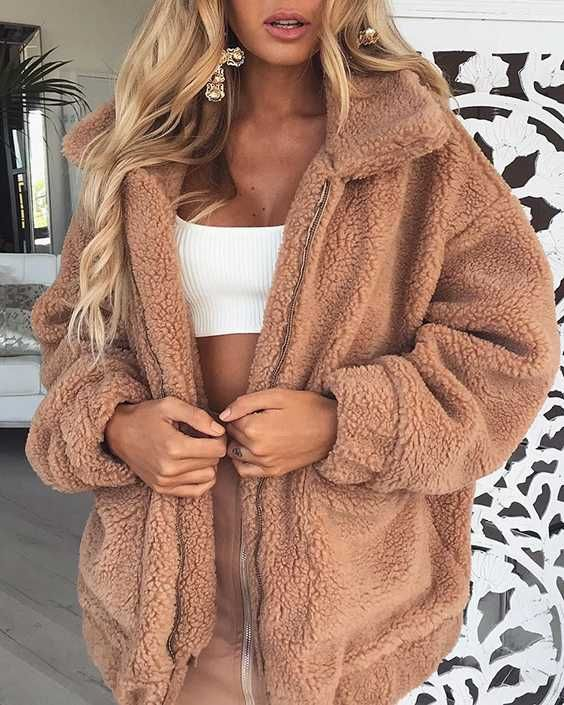 1d86b4bc37c0 brown fuzzy jacket faux sherpa brown faux fur jacket fluffy camel faux fur  brown coat women s winter outerwear Get it by Only Cost Less Than  31~ 39  to keep ...