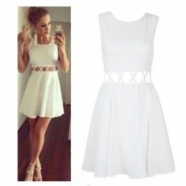 Stylish Ladies Women Sexy Sleeveless Sundress Hollow Out Slim Casual Party Pleated Dress