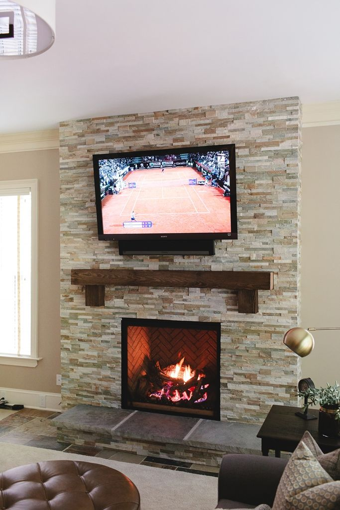 There Was No Fireplace In This Home Originally, So We Installed One! We Cut  The Ledger Tiles From Real Stone To Created This Stacked Stone Fireplace.