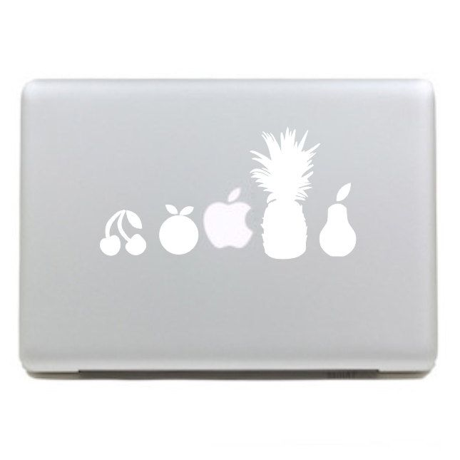 Fruits-Macbook Decals,Macbook Decal,Macbook Stickers, Apple Decal,Macbook Pro decal and Macbook Air decal. $6.49, via Etsy.