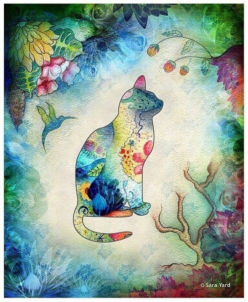 """Lovely cat"" aquarelle de Sara Yard."