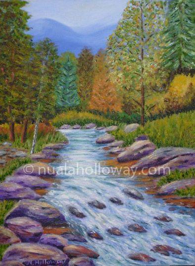 """""""Autumn Stream"""" by Nuala Holloway - Oil on Canvas #Landscape #Autumn #Stream #IrishArt"""