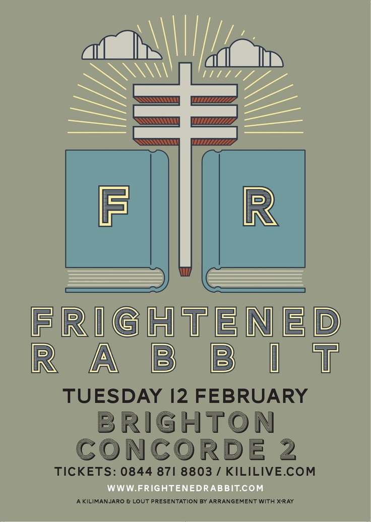 Poster for the fantastic Frightened Rabbit who will be performing at Concorde2 on Tuesday 12th February. Last few tickets available from our website: https://www.concorde2.co.uk/bookTickets.php?pageName=Frightened+Rabbit+=2013-02-12
