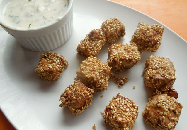 Sesame Tofu Bites: Making crispy tofu with a chewy center can be ...
