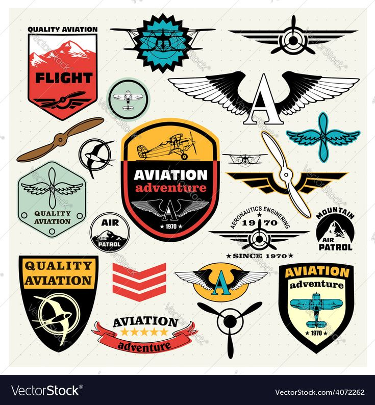 Mega Set of retro emblems, design elements , badges and logo patches on the theme aviation. Download a Free Preview or High Quality Adobe Illustrator Ai, EPS, PDF and High Resolution JPEG versions.
