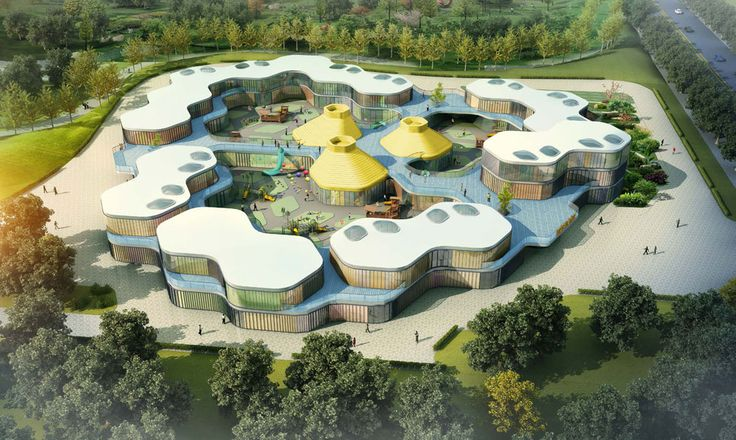 Guan Governmental Kindergarten contains 30 classes with overall 800 children from age 3-6. The concept was setup by a basic hexagon/honeycomb shaped classroom modules which are then aggregated into…