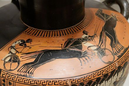 Etruscan vase showing a chariot race C.600BC