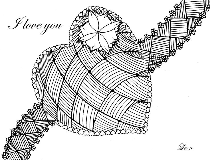 complex coloring page with a big heart to celebrate valentines day from the
