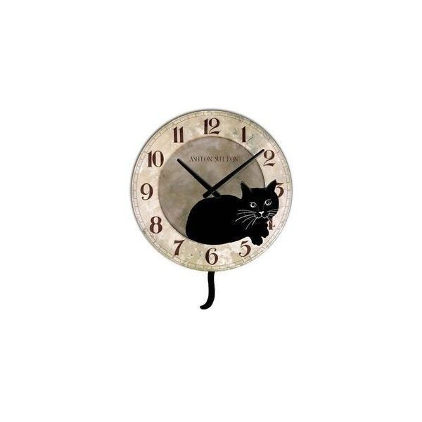 Kitty cat wall clock with black cat design room decor - Kitty cat clock ...