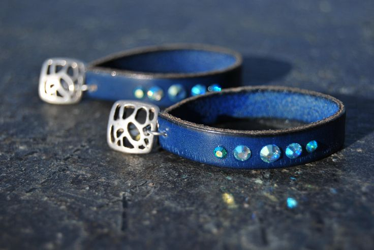 Blue leather and silver earrings by NorthernlightsNO on Etsy