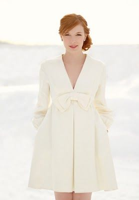 Winter white dress with bow