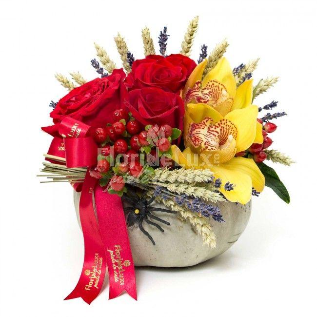 Dovleac flori de Halloween, flori online Halloween, comanda flori Halloween, florarie online Halloween