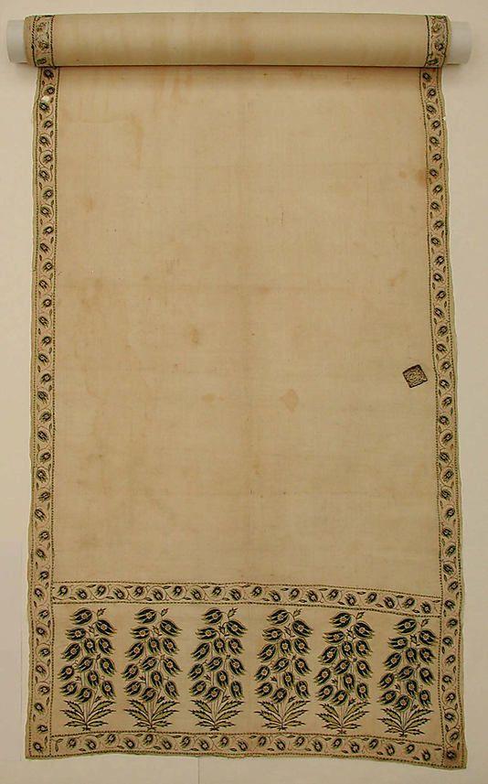 Patka (sash), late 17th century, India, cotton and silk, metmuseum