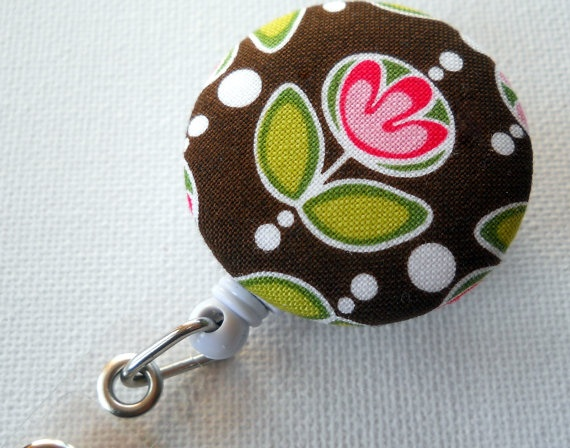 ID Badge Reel Retractable tulip brown pink and green by JeJeweled, $6.00