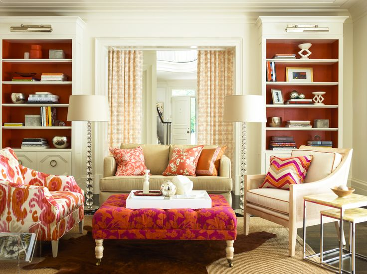 Cream Pink Orange Fabrics