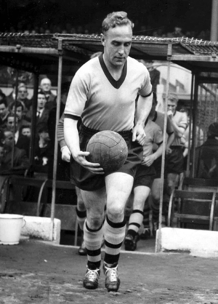 The first player in the world to earn 100 international caps, England's Billy Wright.