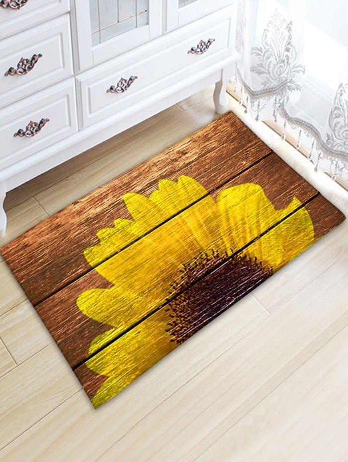 Sunflower Wood Grain Flannel Skidproof Bath Mat